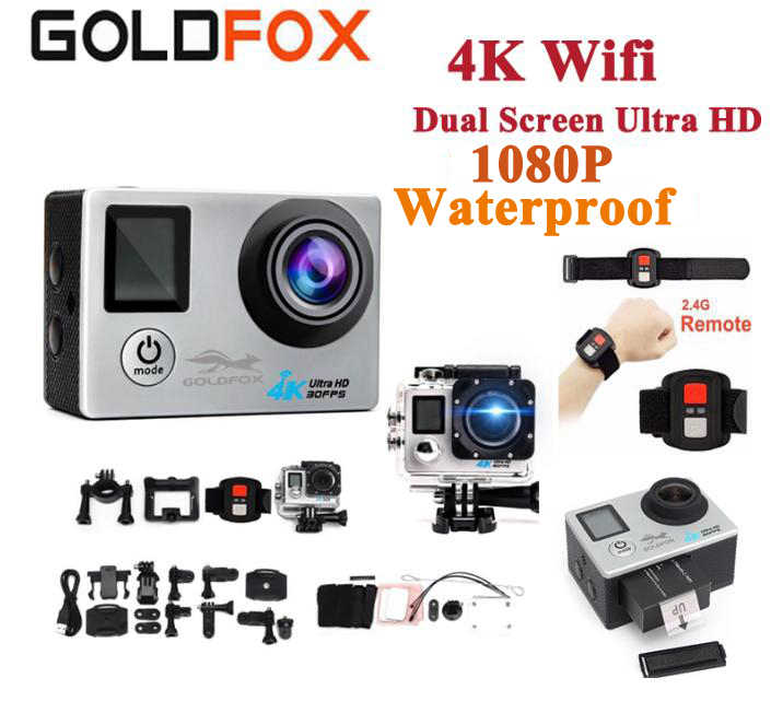 Ultra HD 4K Dual Layar Action Camera 16MP Wifi Remote Control Kamera Olahraga 170D Pergi Tahan Air PRO Olahraga Video rekaman Kamera