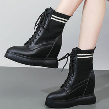 Lace Up Tennis Shoes Women Cow Leather Platform Wedge High Heel Pumps Pointed Toe Top Fashion Sneakers Casual