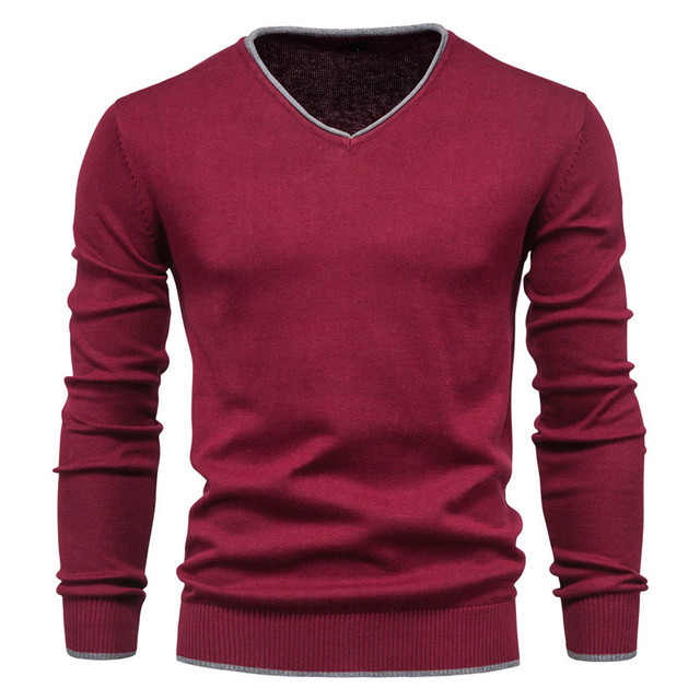 Men's Cotton Autumn Solid Color Long Sleeve Sweater Pullover Youth V-Neck Warm Sweater 1