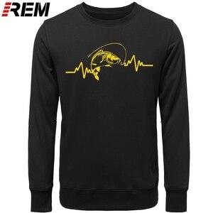 Image 4 - REM Hoodies sıcak giyim pamuk erkekler yüksek kaliteli kalp atışı sazan balıkçı fener yem Hoodies, tişörtü
