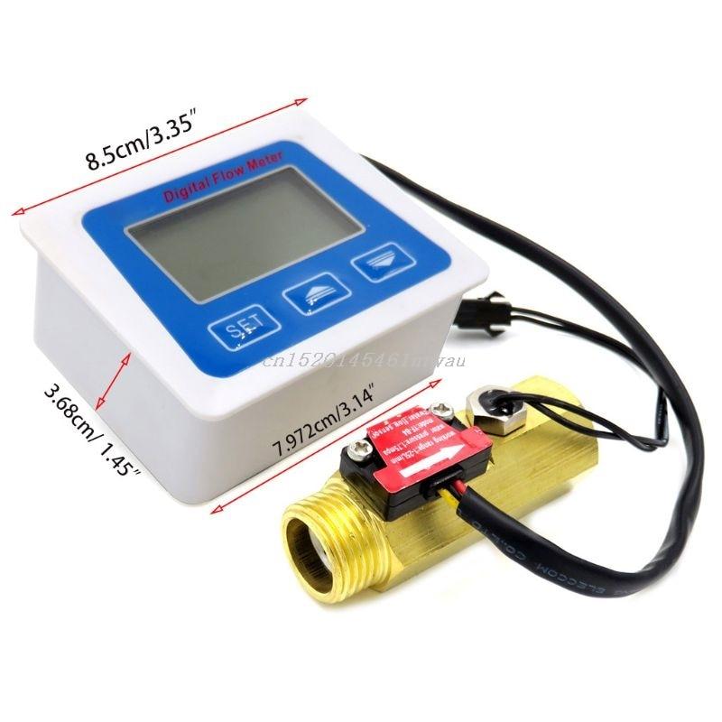 Aletler'ten Akış sensörleri'de Dijital lcd ekran su akış sensörü ölçer debimetre rotametre sıcaklık yeni 2019 title=
