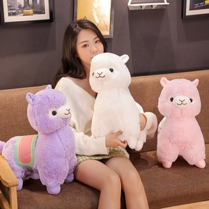Hot Nice 35CM/50CM Cute Saddle Alpaca Plush Toys Soft Plush Alpacasso Alpaca Dolls Stuffed Animal Toy Children Birthday Gift