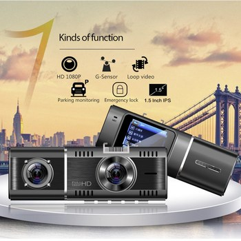 New 1.5 Inch Car Dvr Dash Cam Double Lens 1080P HD in Car Dashboard Camera Driving Video Recorder VDR image
