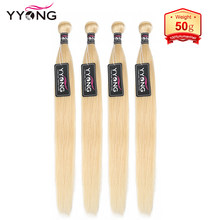 Yyong 50 G/stuk 613 Blond Haar Bundels 100% Human Hair Weeft Honing Blond Braziliaanse Straight 5 Of 6 Bundels Remy haarverlenging(China)