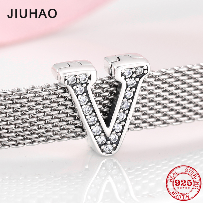New Fashion 925 Sterling Silver V Letter Clips Beads Clear CZ For Jewelry Making Fit Original Reflection Clip Charm Bracelet