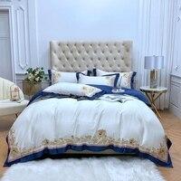 Embroidery Luxury Bedding set embroider Egyptain Blue White Duvet Cover 1000TC Egypt cotton satin Bed set coverlet bedlinen