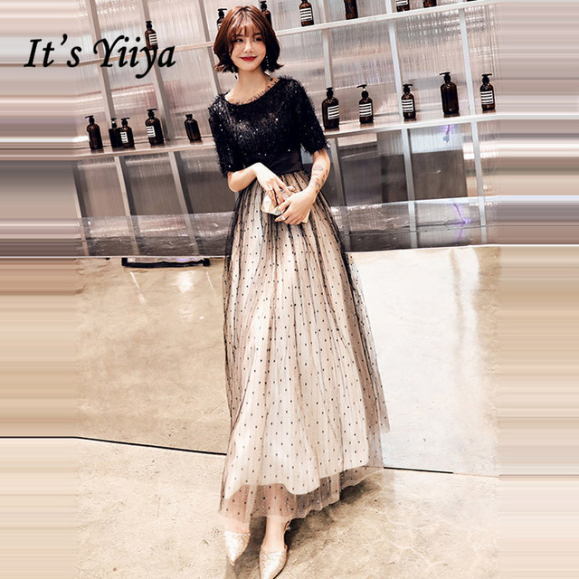 It's Yiiya Evening Dress 2019 Half Sleeve Contrast Color Sequins Dresses Elegant O-Neck A-Line Party Long Gowns Plus Size E1319