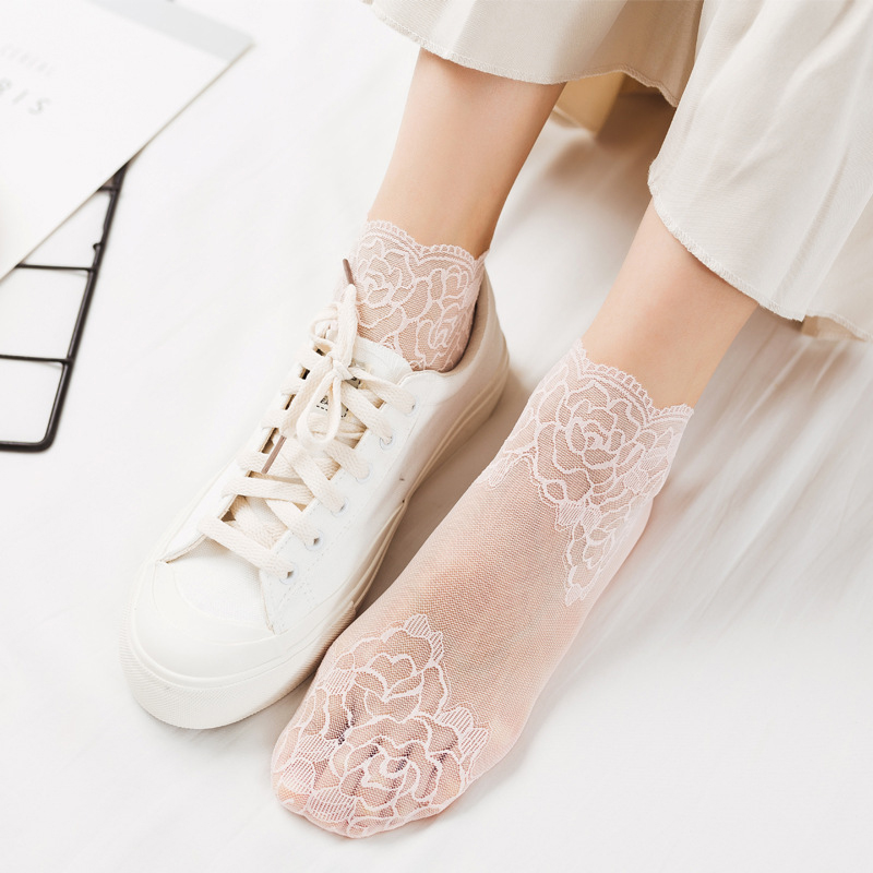 H7e7959e145b9461d95d33f4b472c6a3dQ - Women Printing Fishnet Ankle Transparent Socks Lady Spring Summer Girl Female Sexy Fashion Lace Fish Net Short Sock Mesh Hosiery