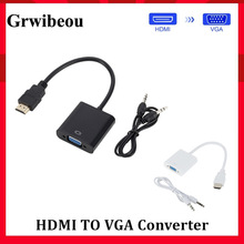 Grwibeou HDMI to VGA Adapter Cable Male To Female HDMI TO VGA Converter Adapter 1080P Digital to Analog Video Audio For Tablet