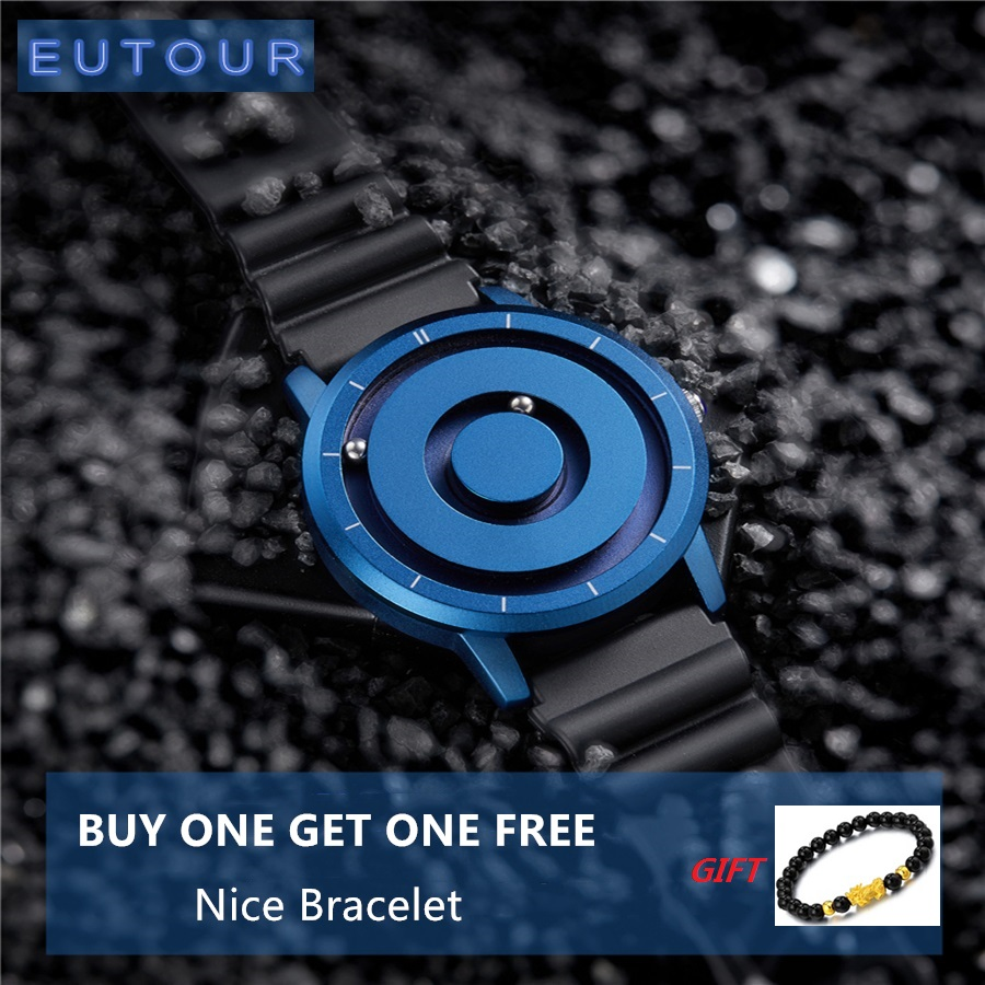 New EUTOUR Blue Magnetic Watch Men Waterproof Casual Silicone Fashion Quartz Gold Magnet Ball Sport Watch Relogio Masculino