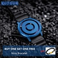 Nuevo reloj magnético azul EUTOUR para hombre, impermeable, Casual, de silicona, de moda, de cuarzo y oro