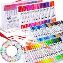 12/48/100/120 cores ponta dupla escova marcador de arte canetas fineliner escova marcadores conjunto para crianças artista adulto bullet journal lettering
