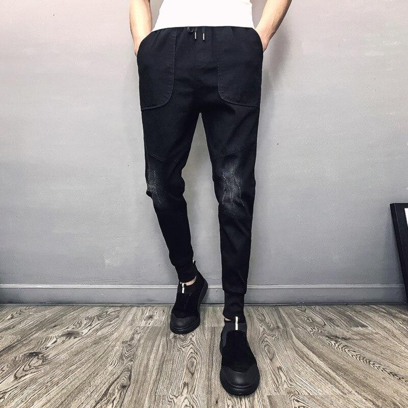 Jeans   Men Slim Fashion Washed Solid Color Harem Pants Casual Drawstring Denim Trousers Man Streetwear Hip Hop   Jean   Male Clothes