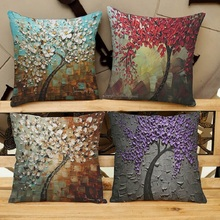 Modern minimalist oil painting tree linen pillowcase home office sofa cushion decorative linen pillowcase cushion cover swans heart pattern decorative linen pillowcase