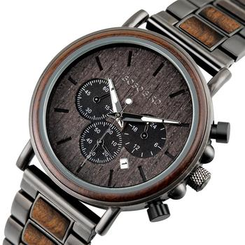BOBO BIRD Luxury Wood Stainless Steel Men Watch Stylish Wooden Timepieces Chronograph Quartz Watches relogio masculino Gift Man - discount item  38% OFF Men's Watches