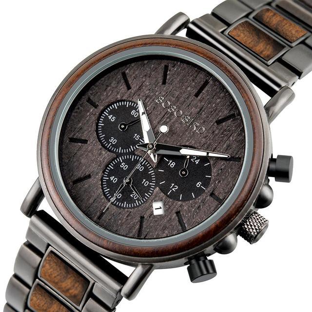 Bobo Bird Luxe Hout Rvs Mannen Horloge Stijlvolle Houten Uurwerken Chronograaf Quartz Horloges Relogio Masculino Gift Man