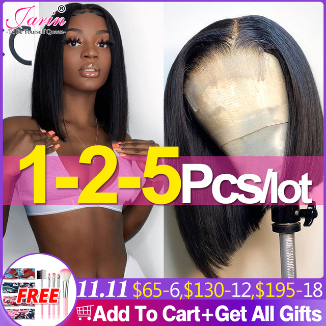 13x4 4x4 Bob Lace Front Wigs Peruvian Straight Wig  Pre Plucked Human Hair 8 10 12 14 Inches Short Bob Human Hair Wigs Jarin