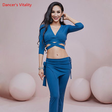 Oriental Dance Top/Pants V-Neck Shirt 7-Point Sleeve Trousers Practice Clothes Set Female Belly Dancewear Performance Clothing