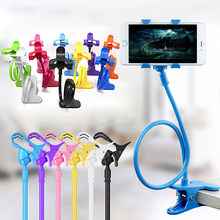 Universal Lazy Mobile Phone Gooseneck Stand Holder Stents Flexible Bed Desk Table Clip Bracket for Phone Flexible Holder Arm Hot(China)