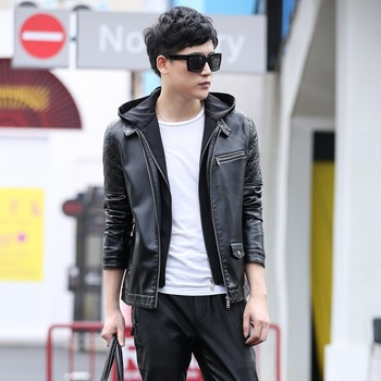 New Leather Jacket Men 2020 Winter New Motorcycle Jacket Plus Size M-5XL Fashion Hooded Collar Solid Mens Coat Male Leather Coat