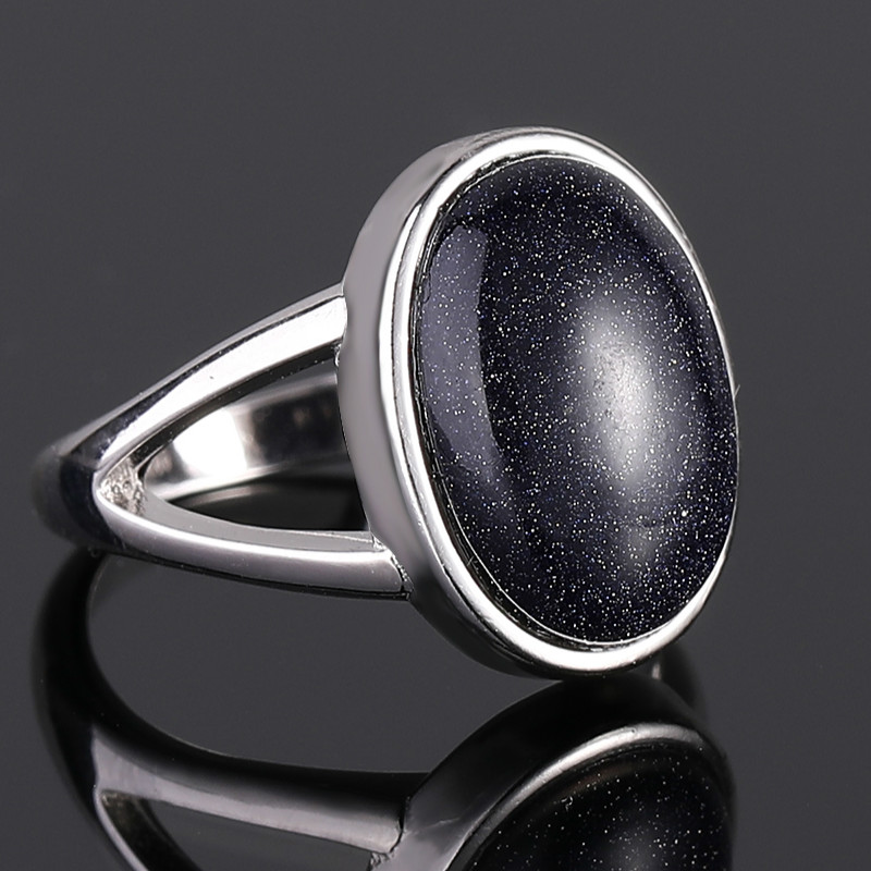 925 Sterling Silver Ring For Women Vintage Hollow Out 10x14MM Big Blue Sandstone Rings Punk Style Fine Jewelry Anniversary Gifts