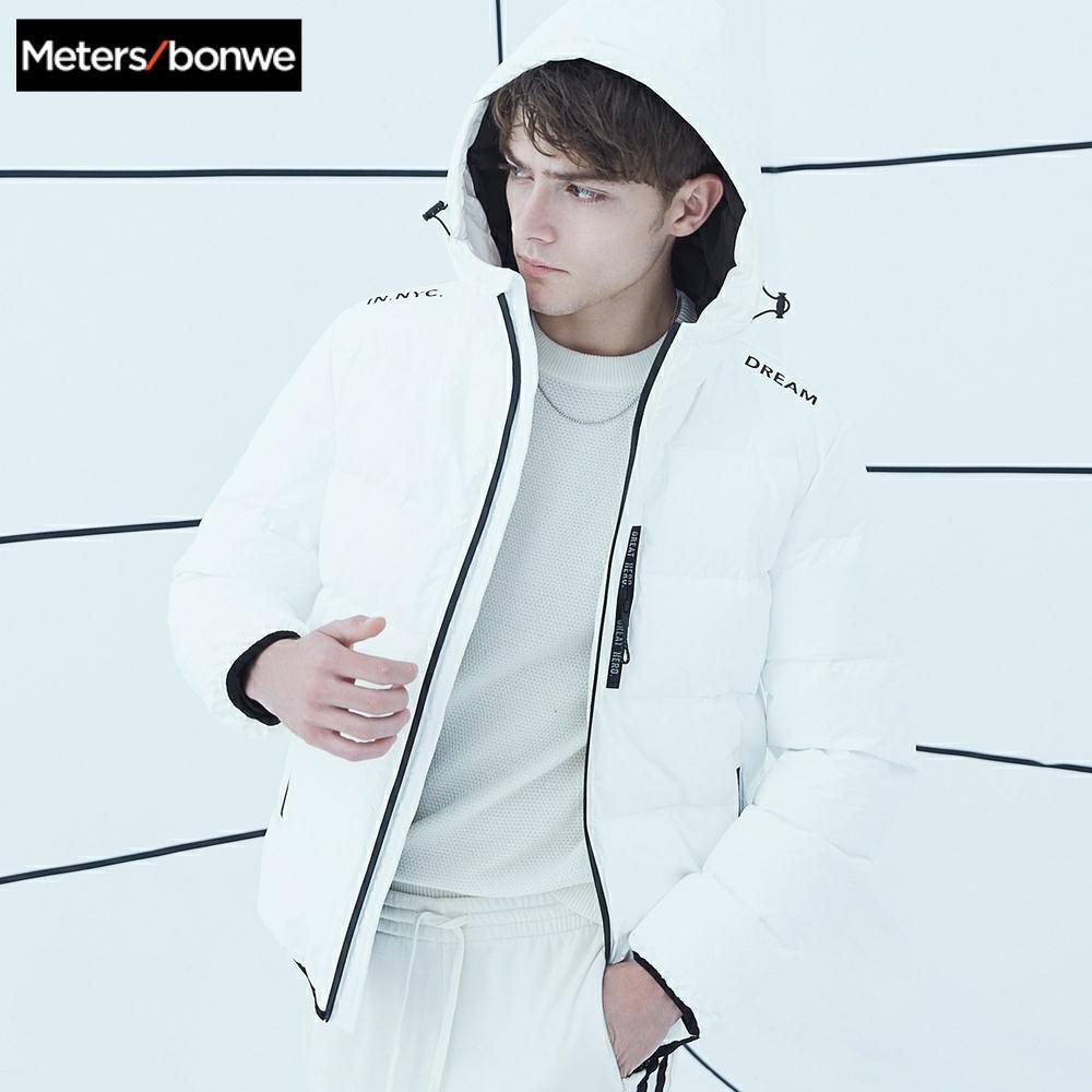 Metersbonwe, толстый пуховик, мужской, зимний, теплый, 80%, белый, утиный пух, пальто, мужской, ветрозащитный, с капюшоном, повседневная одежда, для ул...