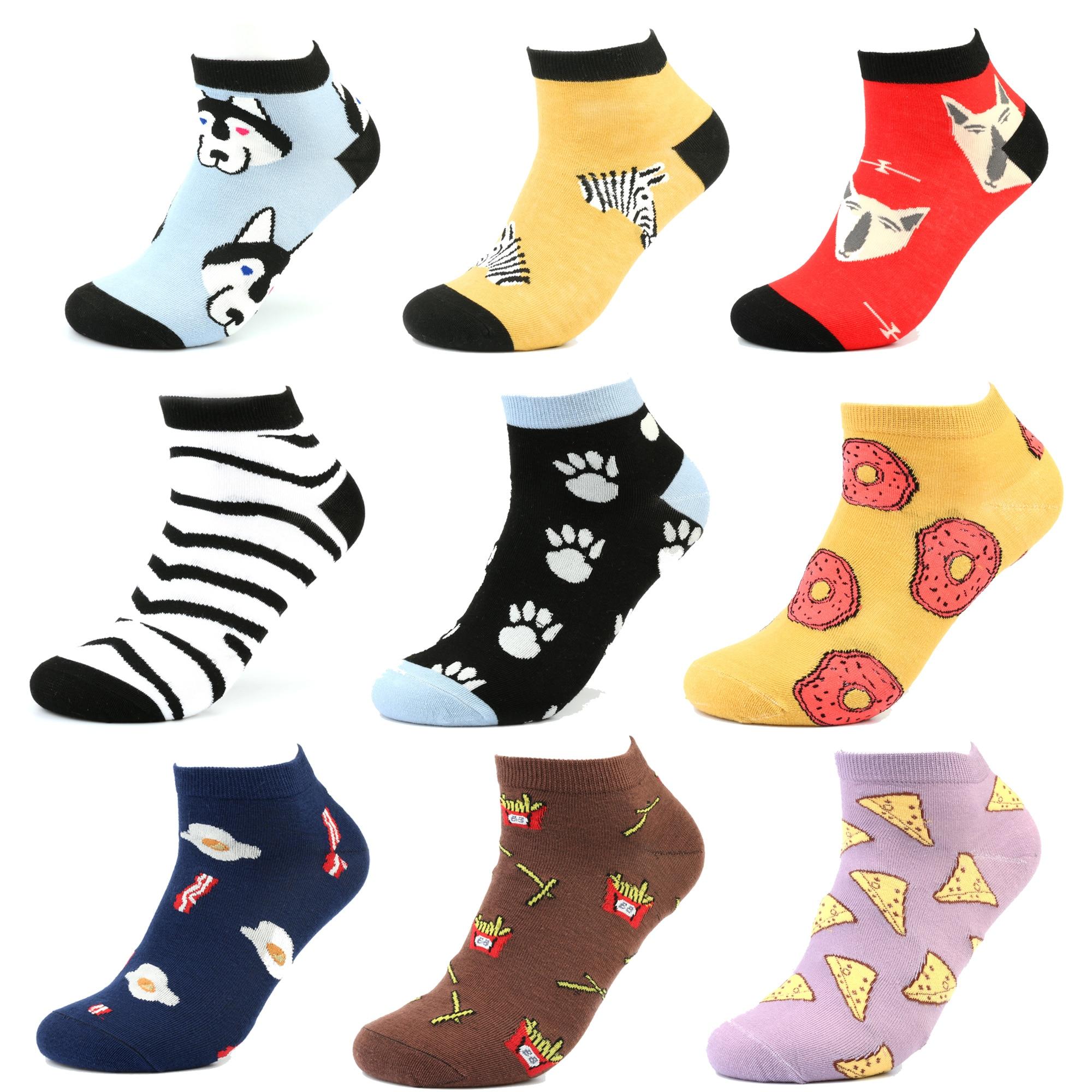 Invisible Socks  Dog  Flower Star Painting Cotton Women Men Socks Streetwear Sneaker Animal Funny Ankle Socks Summer