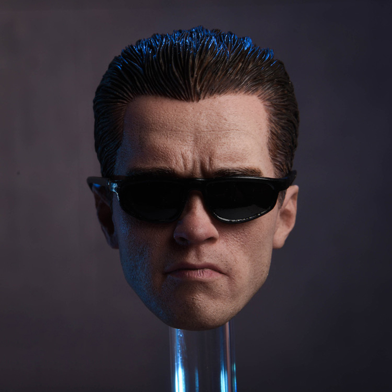 1/6 Scale Male Arnold Schwarzenegger Head Carved Modelwith Sunglasses T-800 Head Carving Model Fit 12