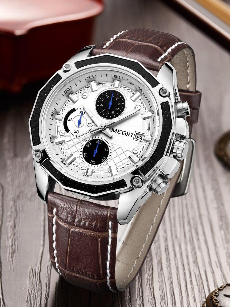 MEGIR Quartz Men Watch-Clock Chronograph Official Male Genuine-Leather Reloj Students