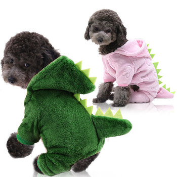 Dinosaur Dog Clothing Hoodie Pet Dogs Clothes Costume Pajamas Outfits Medium Soft Cute Yorkies Autumn Winter Green Girls Collar image