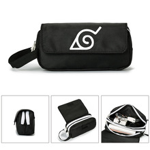 Anime Naruto Akatsuki Naruto Canvas Pencil Bag Double Zipper Large Capacity Pencil Case Cosplay Cosmetic Bag