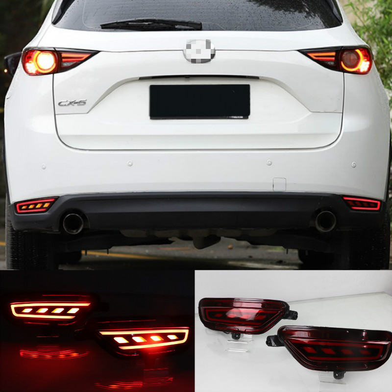 2Pcs <font><b>For</b></font> <font><b>Mazda</b></font> <font><b>CX</b></font>-<font><b>5</b></font> CX5 2017 2018 <font><b>2019</b></font> <font><b>LED</b></font> Rear Reflector Taillight Fog Lamp Rear Bumper Light Brake Light Turn Signal Lamp image