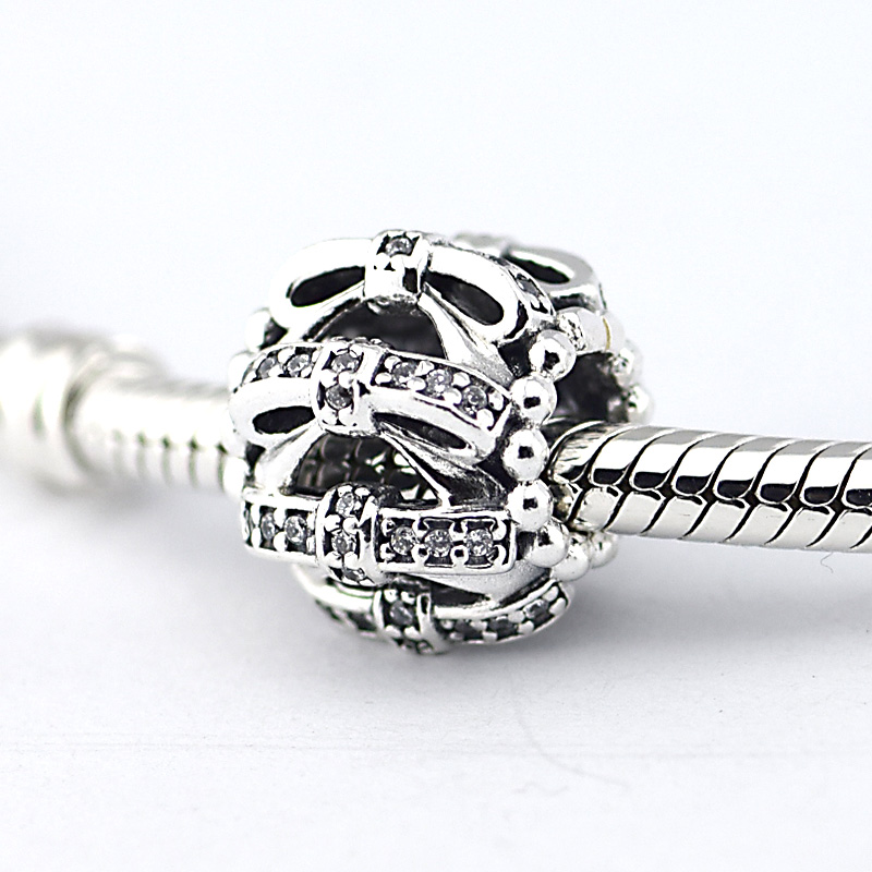 Beads Bracelets Silver 925-Sterling-Silver Charms Jewelry-Making Women Fashion for Clear