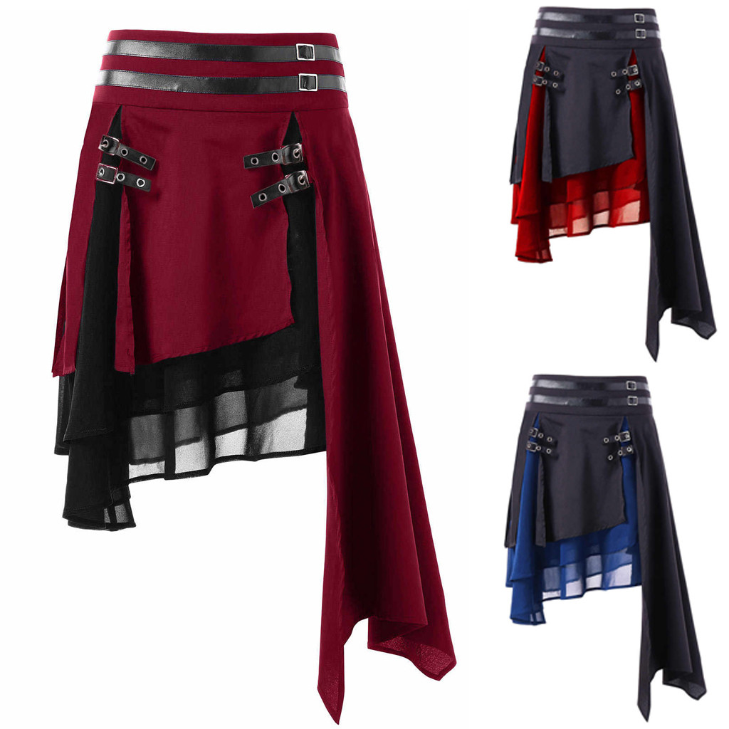 Women High Waist Punk Rave Gothic Color Block Layered Asymmetrical Skirt