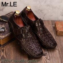 Zapatos de cocodrilo para hombre, 100% de vestir, de piel auténtica, de marca de diseñador, para fiesta, boda, de lujo, informales, de cocodrilo