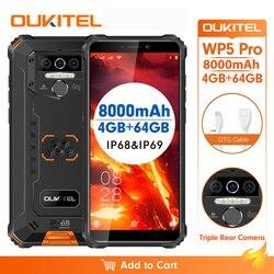 OUKITEL WP5 Pro IP68 Водонепроницаемый 5,5 дюймFDD Смартфон Android 10,0 мобильный телефон 13MP тройные камеры распознавания лиц и 4 Гб 64 Гб 8000 мАч