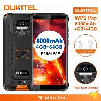 Купить OUKITEL WP5 Pro IP68 Водонепроницаемый 5,5 дюймFDD Смартфон Android 10,0 мобильный телефон 13MP тройные камеры разблокировка лица 4 Гб 64 Гб 8000 мАч
