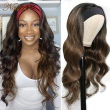# FB30 Выделите парик волнистые волосы, для придания объема, Выделите парик с головной повязкой из натуральных волос на кружевной Мёд блондинк...