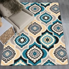 Moroccan style geometric flower 3D carpet bedroom living room crystal velvet Printed digital crawling mat Non-slip foyer