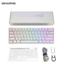 Механическая клавиатура Skyloong GK61, 61 клавиша, горячая замена, переключатель Gateron, красный и серебристый цвета, проводная игровая клавиатура дл...