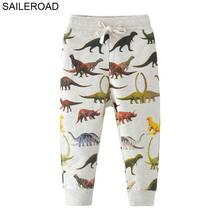 SAILEROAD 2-7T Cartoon Dinosaur Baby Boys Straight Pants For Spring Autumn Children Kids Full Length Sweaterpants Trousers
