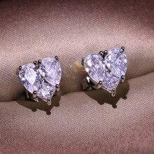 Big Heart Bling Zircon Stone Silver Color Stud Earrings for Women Korean Earrings Fashion Jewelry 2020 NEw big bling square zircon stone silver stud earrings for women korean earrings fashion jewelry 925 silver