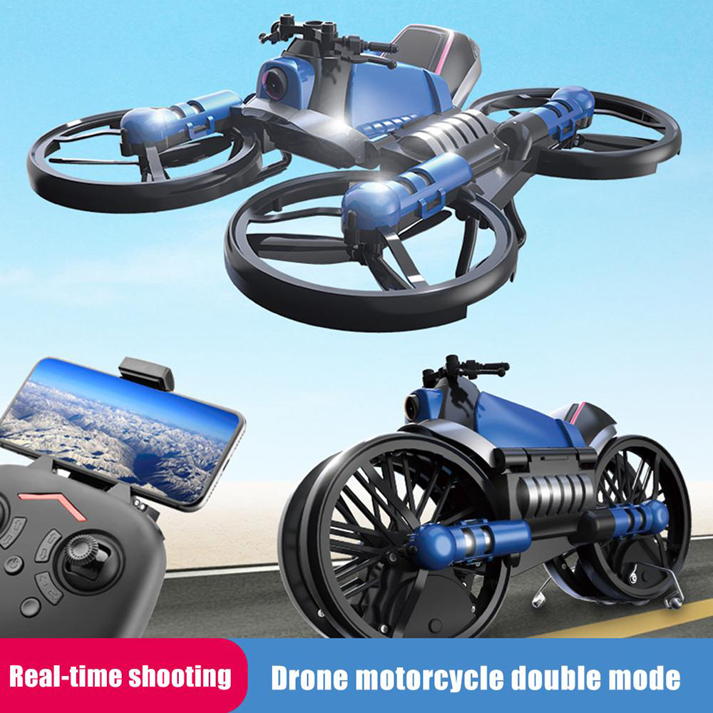Unique H6 2-in-1 Folding RC Drone With Camera Motorcycle Vehicle Multi-functional Folding Aircraft Vehicle 6-axis Quadcopter Toy