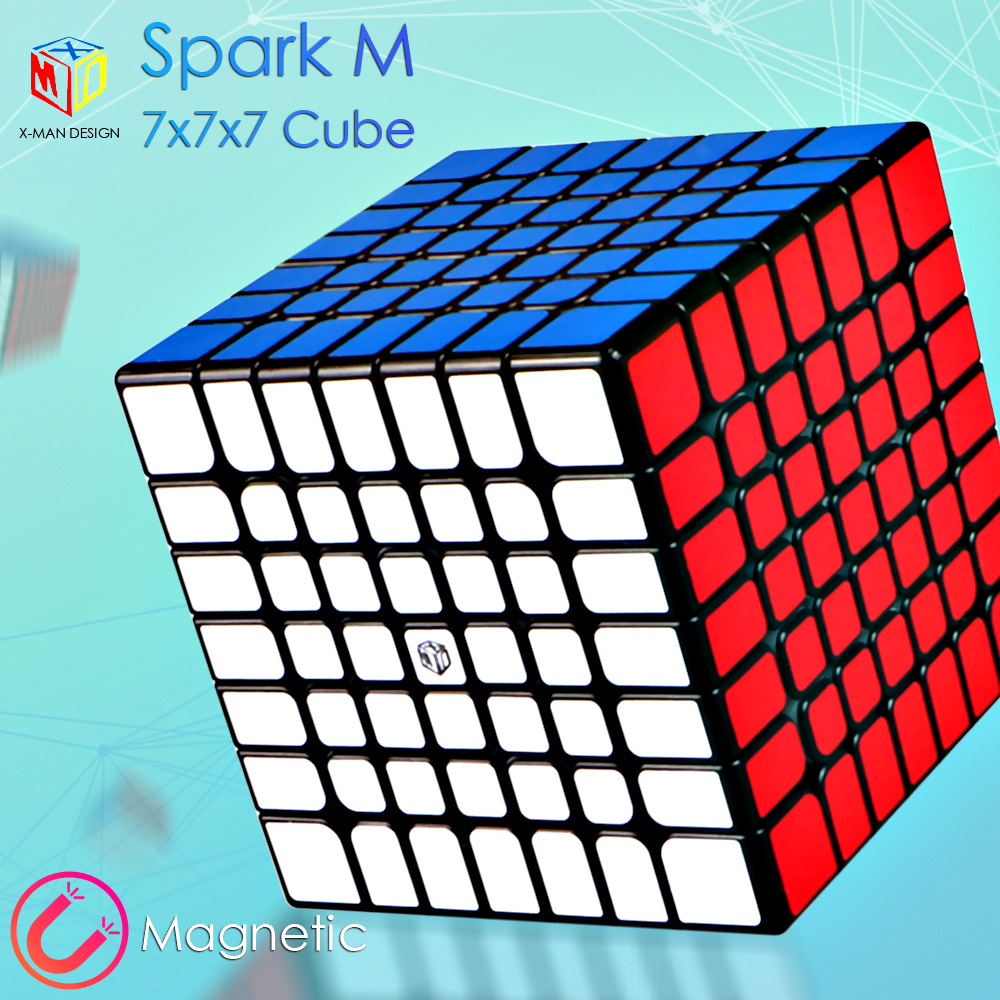 Nouveau Qiyi x-man Design Spark M 7X7x7 Cube magnétique magique sans autocollant aimants professionnels Spark 7x7 vitesse Cube Puzzle Cubo Magico