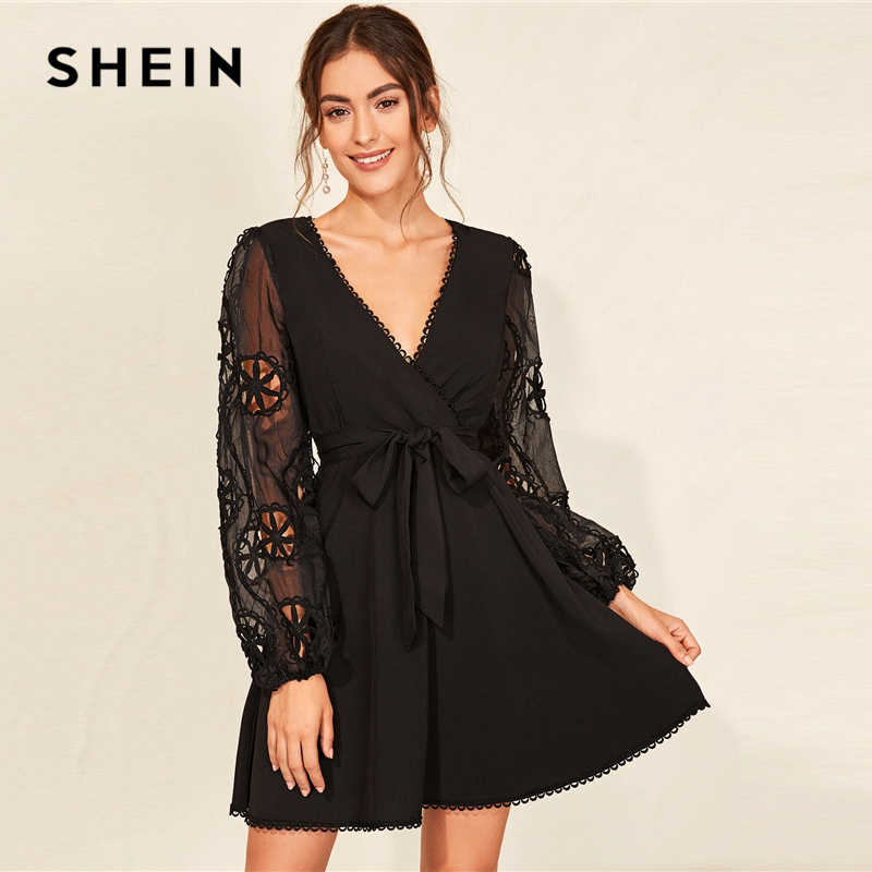 Черное контрастное гипюровое кружевное платье SHEIN с поясом для женщин 2019, Осеннее элегантное короткое платье с длинным рукавом и глубоким v-образным вырезом