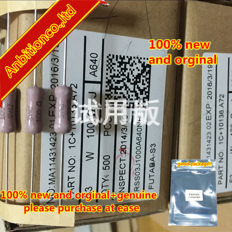 10pcs 100% New And Orginal Imported Printing Resistance S3W 100R 5% 100 Euro  In Stock