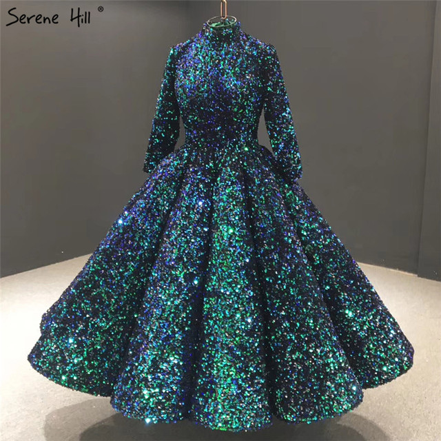 สีเขียวคอมุสลิมข้อเท้าความยาวชุดราตรี 2020 แขนยาว Sequined Sparkle Gowns อย่างเป็นทางการ Serene Hill HA2085