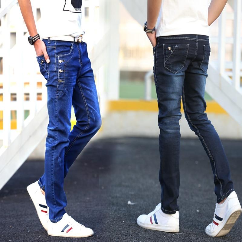 Spring And Autumn-Teenager Elasticity MEN'S Jeans Men's Slim Models Skinny Pants Korean-style BOY'S Medium Waist Long Pants