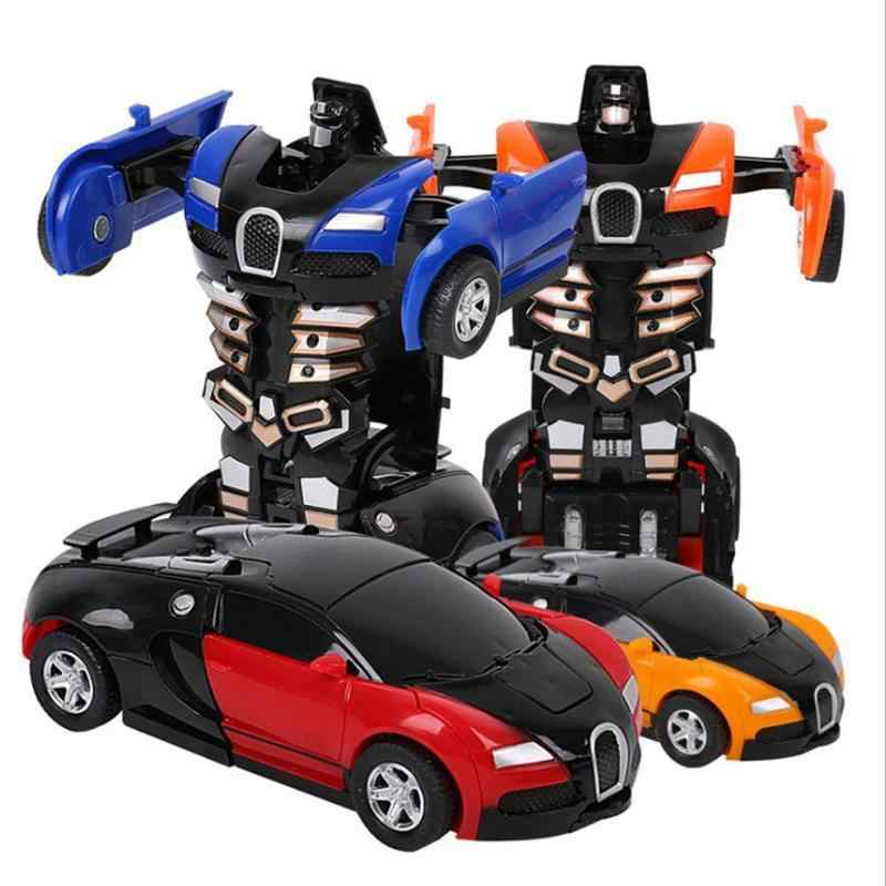 2 In 1 Transformation Car Toy Trnasformational Robot Model ABS Mini Cool Pull Back Toy Car Best Gift for Kids Toddlers Wholesale