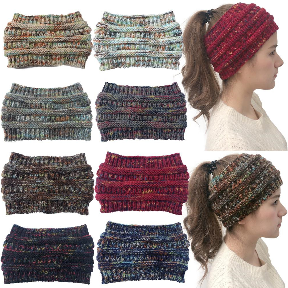 CN Womens Colorful Knitted Crochet Headbands Winter Elastic Ear Warmer Hairbands For Girls Soft Turban Wide Hair Accessories